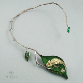 Sterling silver twig and leaves necklace