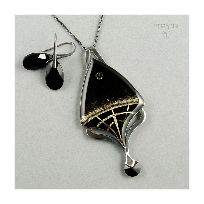 Black Hole art necklace of silver and watch parts