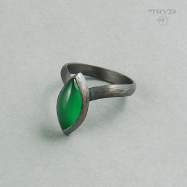 Sterling silver ring with a green onyx