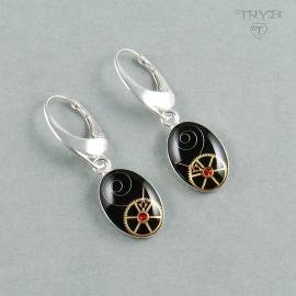 Long, sterling silver, oval earrings