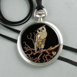 Steampunk Owl Necklace - handmade owl pendant. Birds jewelry