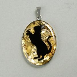 Ręcznie robiona zawieszka kot - wisiorek czarny kot z zębatkami