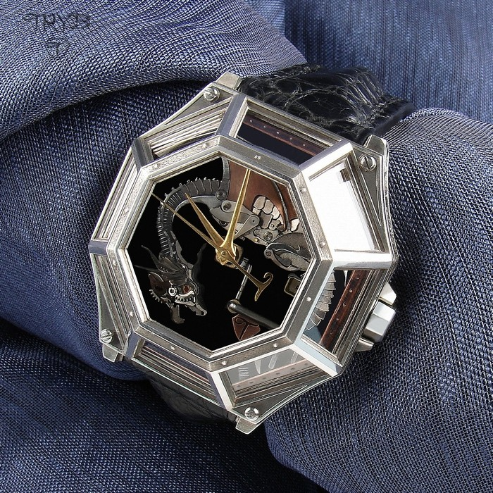 Luxury, hand crafted, totally unique wristwatch with a dragon on the dial.