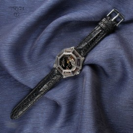 Luxury, hand crafted, totally unique wristwatch with a dragon on the dial and a cayman leather strap