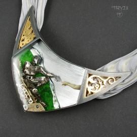 Stworzenie Adama naszyjnik ze srebra, jedwabiu i części zegarków