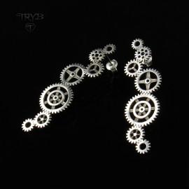 Długie kolczyki ze srebra Trybiki