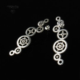Long sterling silver earrings cogs