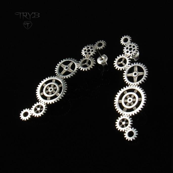 Long sterling silver earrings cogs