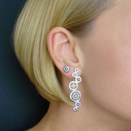 Large, silver earrings cogs