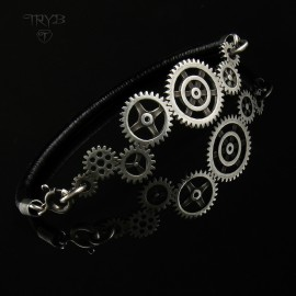 Gear Me Up - damska bransoletka srebrna trybiki