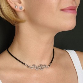 Rock gears necklace of silver
