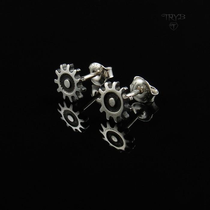 Gear Me Up - srebrne kolczyki wkrętki Trybiki
