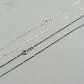 Łańcuszek srebrny ankier diamentowany