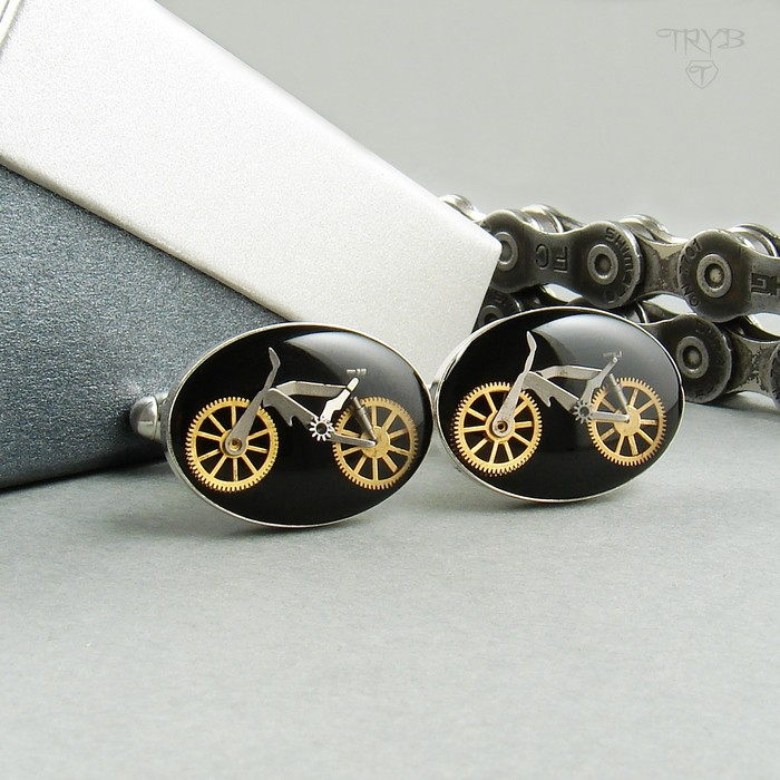 Silver bicycles cufflinks