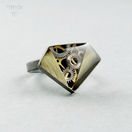 "Sterling silver ""Diamond"" ring with a pinch of steampunk"