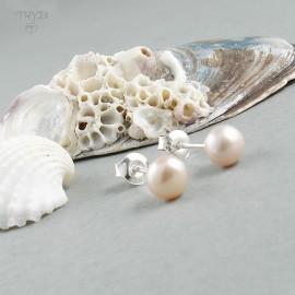 Kolczyki z różowymi perłami