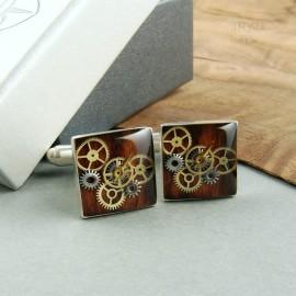 Kwadratowe spinki do mankietów ze srebra z drewnem i zębatkami