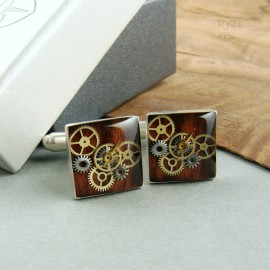 Square sterling silver cufflinks with wood and cogs