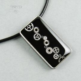 Rectangular sterling silver steampunk pendant