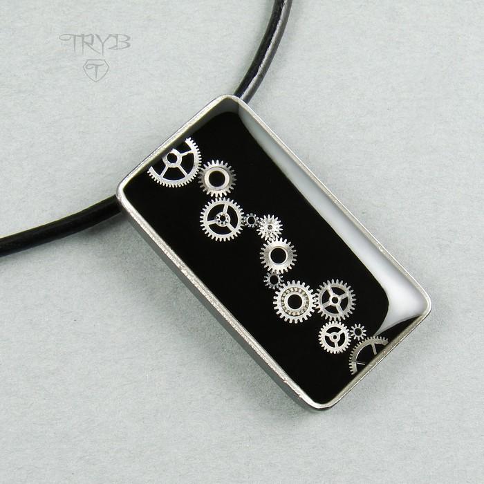 Rectangular sterling silver men's pendant