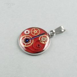 Czerwona Zawieszka steampunk ze stali chirurgicznej i części zegarków