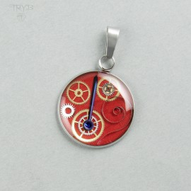 Red Stainless steel steampunk pendant