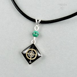 Black Sterling silver Caro necklace with watch gears and malachite