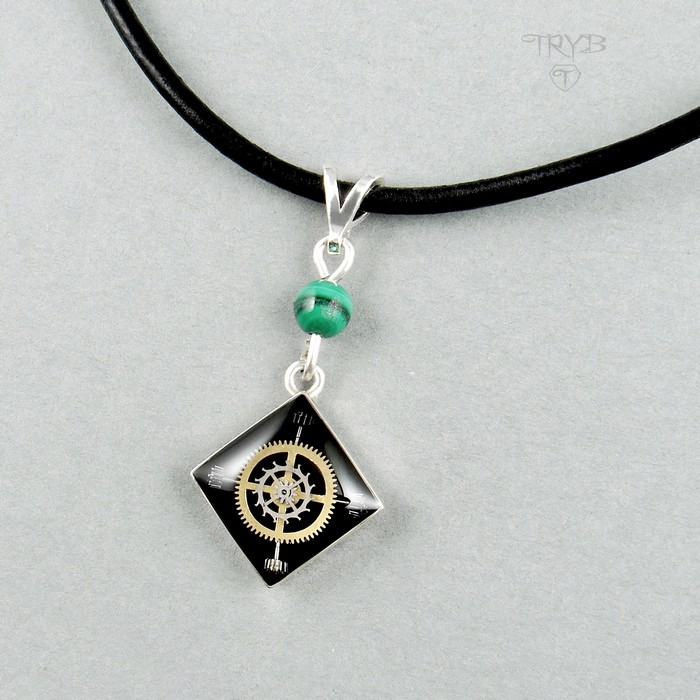 Unique Sterling silver necklace with malachite and watch parts