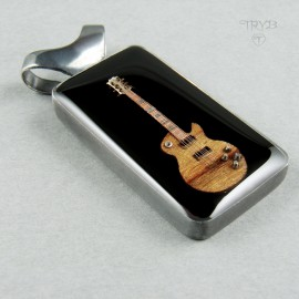 Men's Guitar Pendant made from silver, exotic wood and watch parts