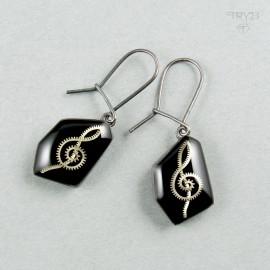 Długie muzyczne kolczyki ze srebra oksydowanego