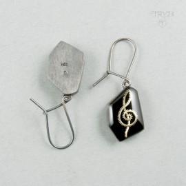 Music earrings of oxidized silver