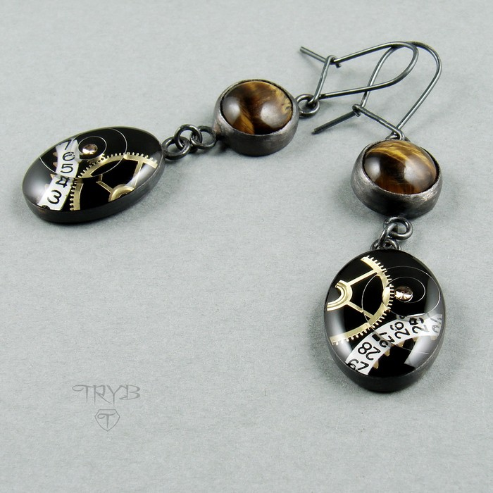 Steampunk, silver earrings with tiger's eyes