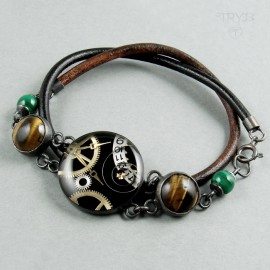 Women's bracelet with tiger's eye and malachite