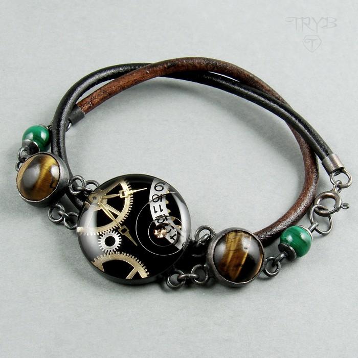 Women's bracelet with tiger's eye and malachite