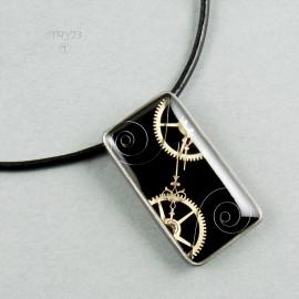 Rectangular steampunk pendant