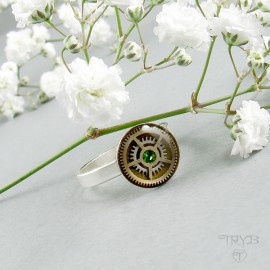 Steampunk silver ring with...