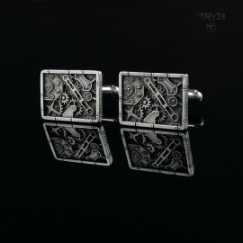 Sterling silver cufflinks in steampunk style and rectangular shape