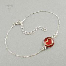 Srebrna bransoletka celebrytka serce z zegarkowego trybika