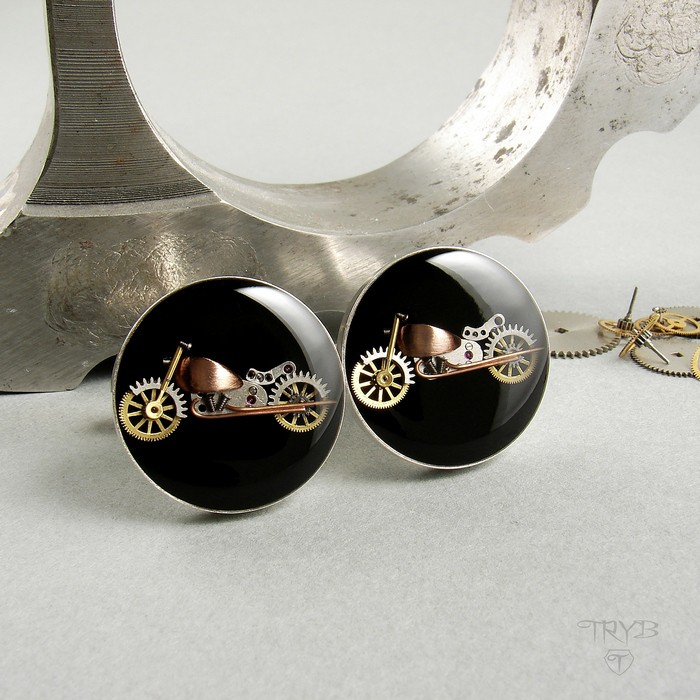 Sterling silver cufflinks motorcycles of watch parts