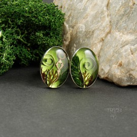 Silver green plants cufflinks