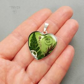 Zielona zawieszka serce ze srebra