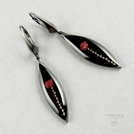 Long rose earrings from oxidized silver