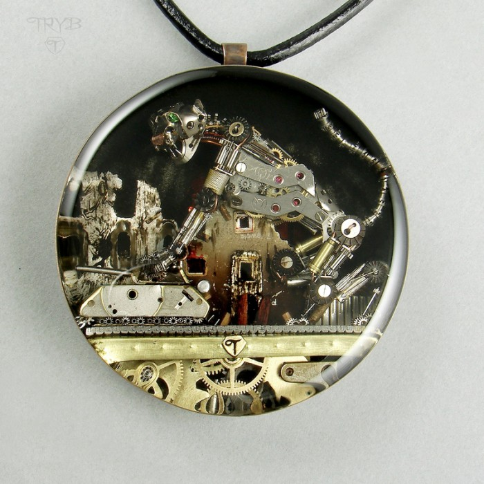 Steampunk pendant with a cat and a tank