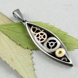 Podłużna zawieszka steampunk ze srebra z trybikami zegarków