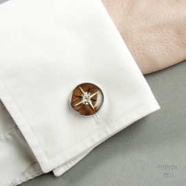 Steampunk roses of winds cufflinks