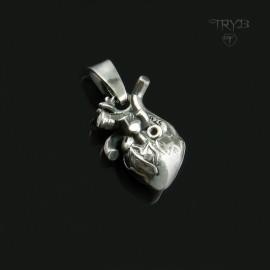 Sterling silver human heart pendant
