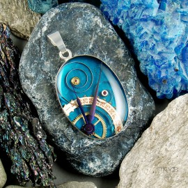 Blue, Sterling silver oval pendant in steampunk style