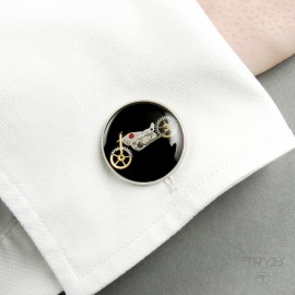 Steampunk motorcycles cufflinks in stainless steel settings