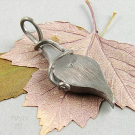 Housefly on tle leaf pendant in silver - fly pendant