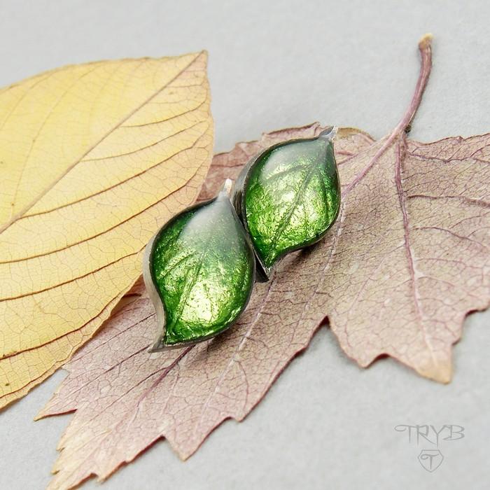 Srebrne kolczyki liście